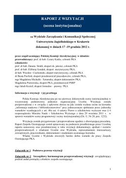 RAPORT Z WIZYTACJI - Polska Komisja Akredytacyjna