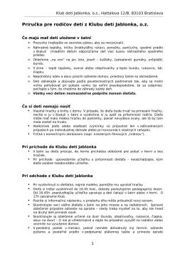 Základné informácie o prevádzke Klubu detí Jablonka