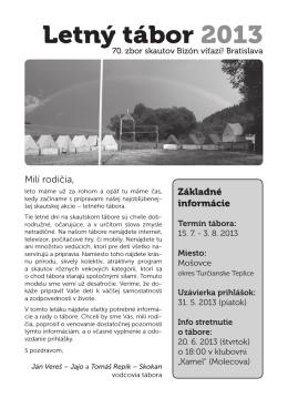 Letný tábor 2013 - 70. zbor Bizón, Bratislava