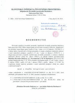 slovenská inšpekcia životného prostredia rozhodnutie