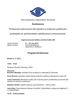 program konferencie Prístupnosť audiovíznych diel osobám so