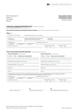 Formulár na zmenu referenčného účtu klienta
