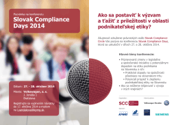 Slovak Compliance Days 2014