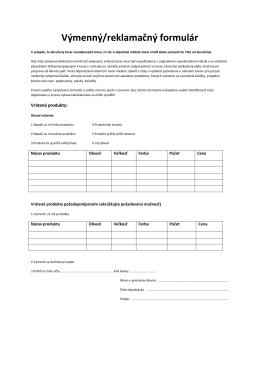 Výmenný/reklamačný formulár