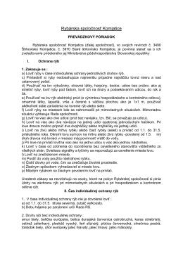 Prevádzkový poriadok RSK schválený na rok 2013