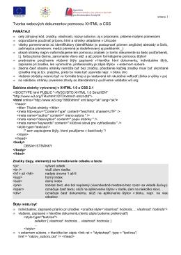 XHTML a CSS - Gymnázium, Párovská 1, Nitra