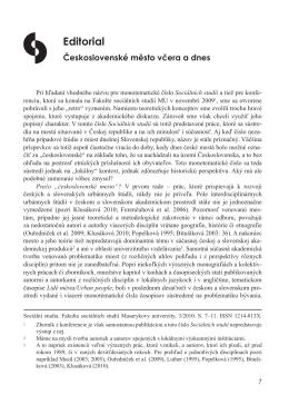 Editorial - Sociální studia