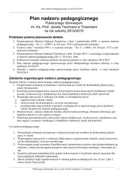 Plan pracy WDN - Liceum Ogólnokształcące w Kole