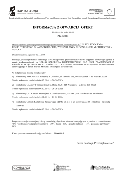 Informacja z otwarcia ofert Umowa ramowa –Prace remontowe w
