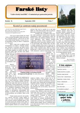 Farské listy č.7.pub - Rímskokatolícká cirkev Farnosť Urmince