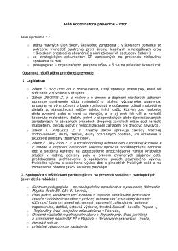 Plán koordinátora prevencie - vzor