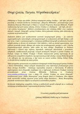 Folder Walory turystyczne Gminy Unisław