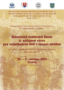 Slovenská materská škola a súčasné výzvy pre