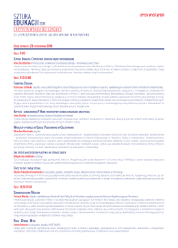 Opis wystąpień i harmonogram Konferencji Sztuka Edukacji