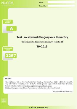 Certifikačný test zo slovenského jazyka a literatúry 2013