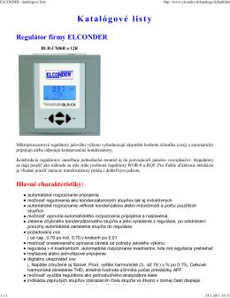 Katalógové listy ELCONDER (pdf
