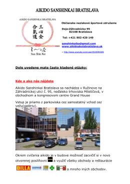 Leták a info na stiahnutie - Aikido Sanshinkai Bratislava