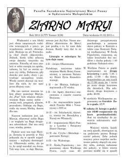 luty - Parafia Sędziszów Małopolski kościół w Sędziszowie Młp.