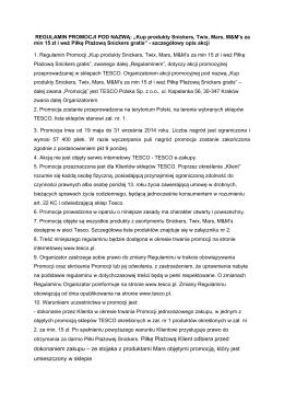"""Regulamin akcji """"Kup produkty za 15 zł - PIŁKA"""