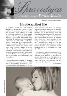 Spravodajca občianskeho združenia Fórum života 2/2009 (pdf, 312 kB)