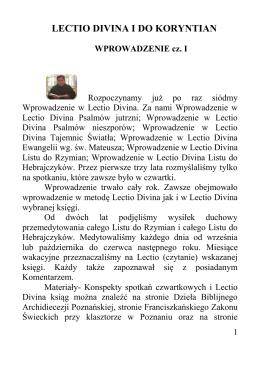 lectio divina i do koryntian - Franciszkański Zakon Świeckich w