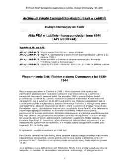 Archiwum Parafii Ewangelicko-Augsburskiej w Lublinie Akta PEA w