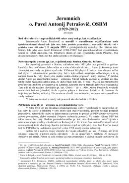 Zivotopis o. Pavel Anton Petrasovic, OSBM