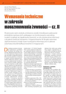 Wymagania techniczne w zakresie magazynowania żywności – cz. II