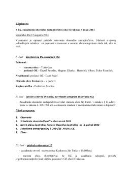 Zápisnica a uznesenia zo zasadnutia obecného zastupiteľstva