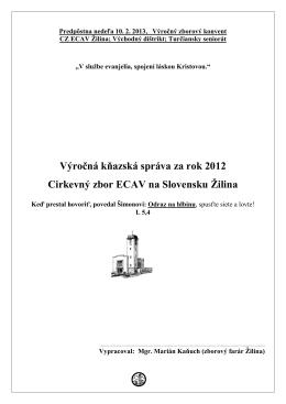 Kňazská správa za rok 2012, M.Kaňuch