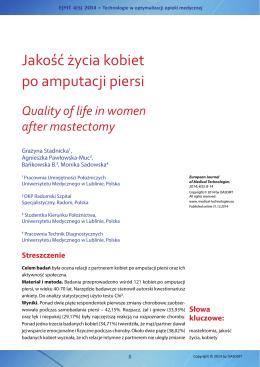 Jakość życia kobiet po amputacji piersi