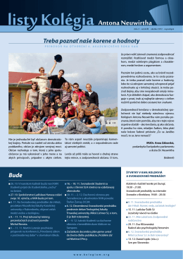 Listy Kolégia Antona Neuwirtha, ročník III., číslo III. (október 2012)
