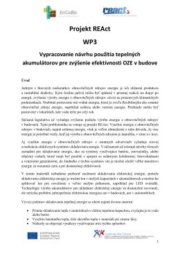 Projekt REAct WP3 tepelne akumulatory publication