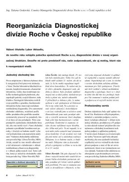 Reorganizácia Diagnostickej divízie Roche v Českej republike