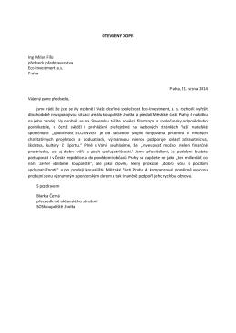 Otevřený dopis - SOS koupaliště Lhotka