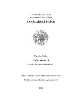 BAKALÁŘSKÁ PRÁCE - KSI - Univerzita Karlova v Praze