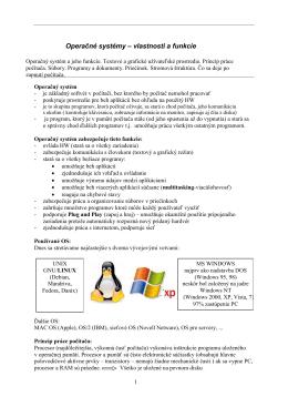 Operačné systémy – vlastnosti a funkcie