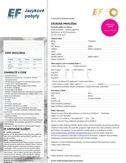 záväznú prihlášku - Jazykové pobyty a štúdium v zahraničí