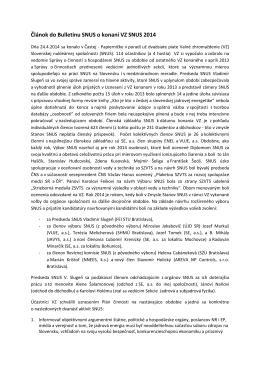 Markuš_Článok do Bulletinu SNUS_VZ SNUS 2014_final