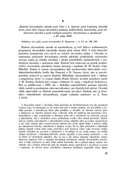 """""""Žiadosti slovenskieho národa pred Jeho c. k. Jasnosť"""
