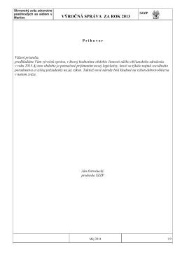 Výročná správa SZZP za rok 2013