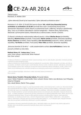 Tlačová správa - Laureáti XIII. ročníka CE·ZA·AR