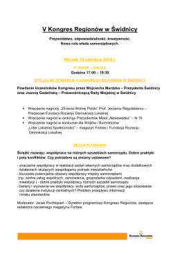 program - Kongres Regionów