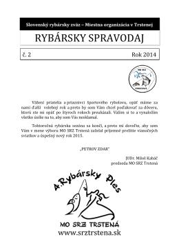 Spravodaj č. 2/2014 - slovenský rybársky zväz