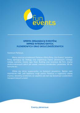 Eventy plenerowe OFERTA ORGANIZACJI EVENTÓW, IMPREZ