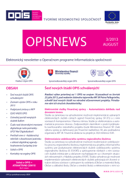 opisnews 3/2013 - INFORMATIZÁCIA