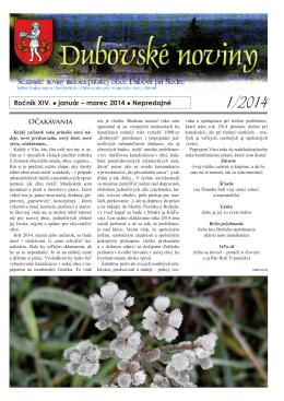 1/2014 - Dubová