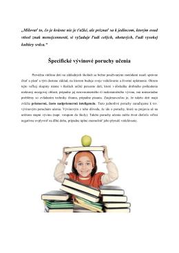 Špecifické vývinové poruchy učenia
