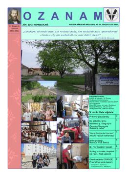 Ozanam 2/2012 - Spolok sv. Vincenta de Paul na Slovensku