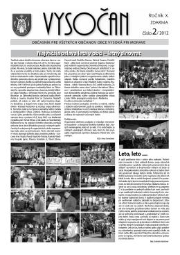 Vysočan, rok 2012, 2. číslo